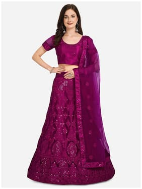 Vsales Women Net Semi Stitched Lehenga, Choli & Dupatta (Purple)
