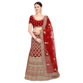 Vsales Women's Red Semi Stiched Embroidered Velvet Lehenga Choli