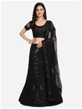 Vsales Women Net Semi Stitched Lehenga, Choli & Dupatta (Black)
