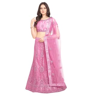 Vsales Women's Pink Semi Stiched Embroidered Net Lehenga Choli