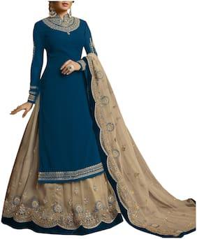 Vshtravya Fab Faux Georgette Anarkali Sharara Suite with Dupatta Semi Stitched.