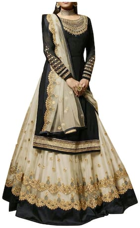 Vshtravya Fab Women'S Poly Georgette Fabric Lehanga With Kurta Dupatta & Bottom Material Semi Stitched (Black)