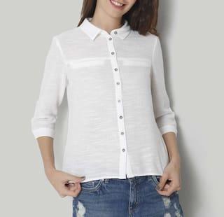 VSkin Women's Solid Casual Spread Shirt