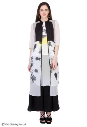 W Black Casual Polyester Printed V-Neck Regular Straight Kurta