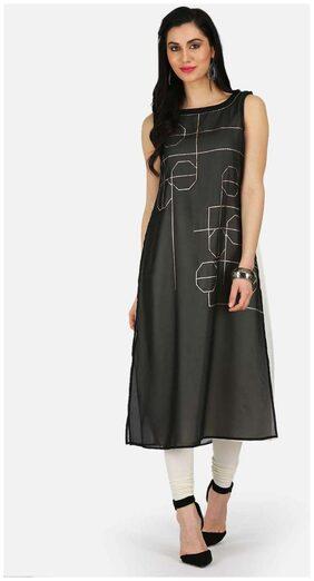 W Women Blended Printed Straight Kurta - Black