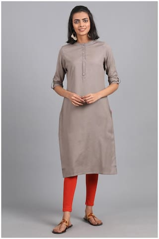 W Women Grey Solid Straight Kurta