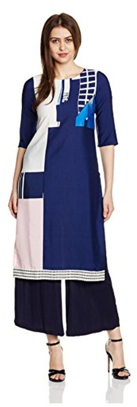W Blue Casual Polyester Printed Round Regular Straight Kurta
