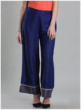 W Blue Viscose Printed Regular Fit Pants