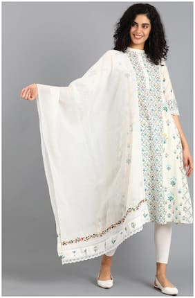 W Cotton Floral Dupatta White Color