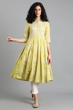 W Cotton Printed Straight Kurta Green Color