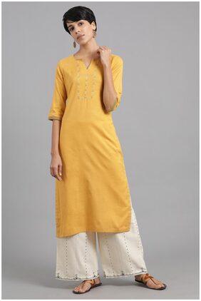 W Embellished Yellow Khadi Kurta