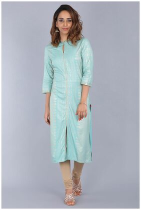 W for Woman Blue Mandarin Neck Embellished Kurta