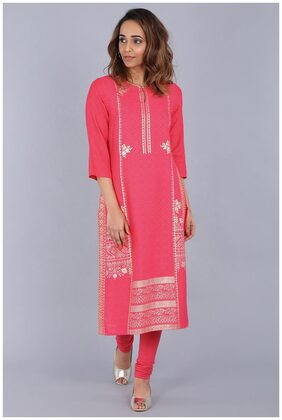W for Woman Pink Round Neck Embellished Kurta