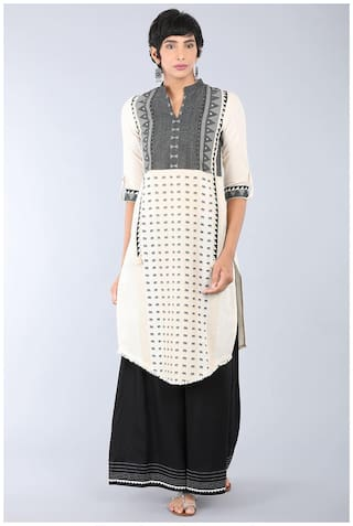 W for Woman Off-White Mandarin Neck Printed Kurta