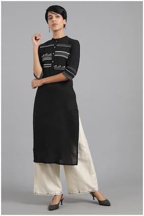 W Fusion Khadi Kurta with Mandarin Collar