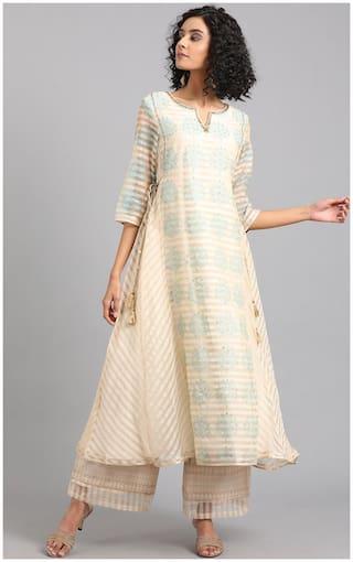 W Women Polyester Abstract A line Kurta - Beige