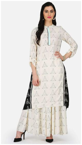 W Women Blended Printed Straight Kurta - White
