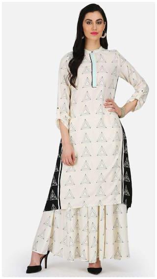 W Women Blended Printed Straight Kurta - White