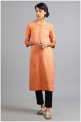 W Women Orange Printed Straight Kurta