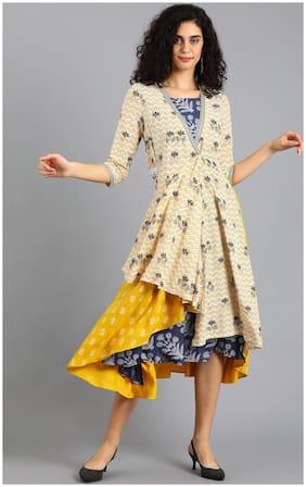Women Colorblocked Straight Fusion Dresses
