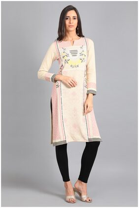 W Winter Multi Round Neck Printed Winter Kurta