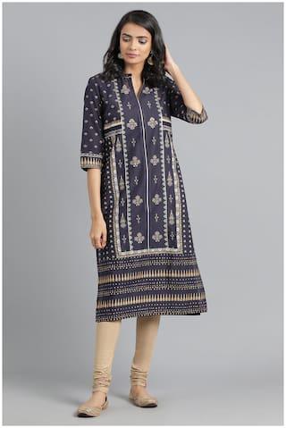 W Women Blue Printed Layered Kurta