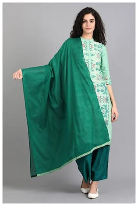 W Women Green Solid Cotton Dupatta