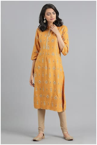 W Women Yellow Floral A-Line Kurta