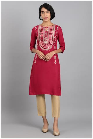 W Women Maroon Printed Straight Kurta