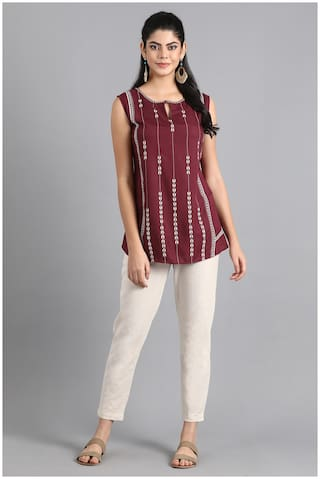 W Women Printed A-line top - Red