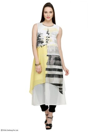 W Yellow Polyester Regular Fit Kurta