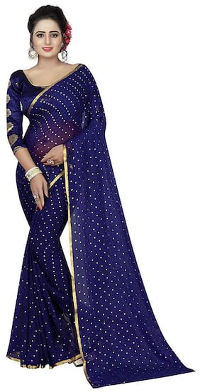watchstar chiffon attractive saree with blouse piece