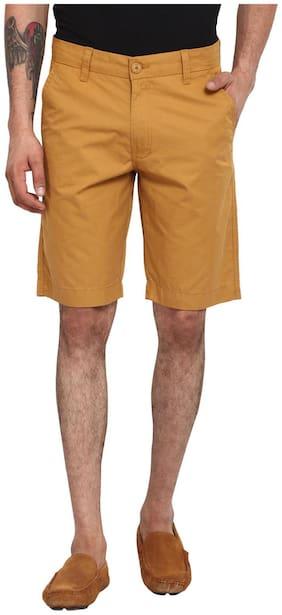 Wear Your Mind Beige Cotton Solids Regular Wash Shorts
