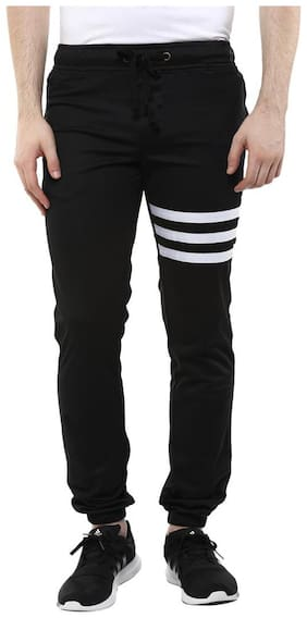 Wear Your Mind Black Poly Cotton Regular Party Striped Track Pants
