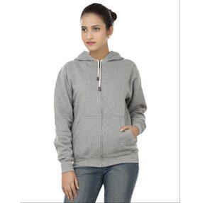 Weardo Women's Stylish Plain Zipper Grey Hooded Sweatshirts