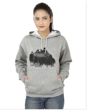 Weardo Women's Stylish Knight's Watch Printed Grey Hooded Sweatshirts