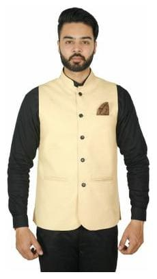 Wearza Men's Light Golden Woven Cotton Blend Sleevless Rounded Bottom Nehru and Modi Jacket Ethnic Style For Party Wear, Sizes S-XXXL
