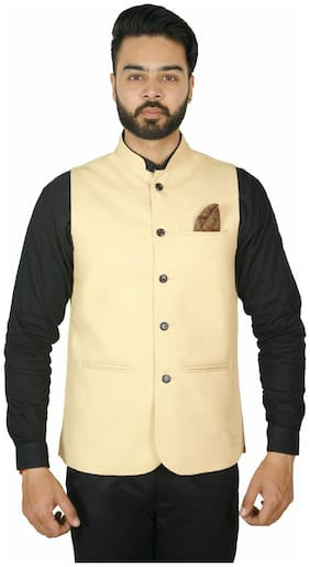 WEARZA Men Beige Solid Slim Fit Ethnic Jacket