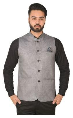 Wearza Men's Grey Silver Woven Cotton Blend Sleevless Rounded Bottom Nehru and Modi Jacket Ethnic Style For Party Wear, Sizes S-XXXL