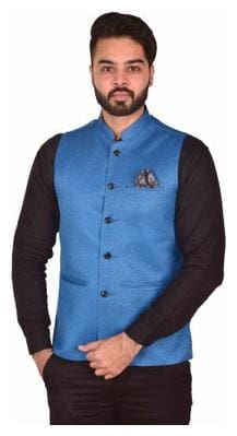Wearza Men's Black Woven Cotton Blend Sleevless Rounded Bottom Nehru and Modi Jacket Ethnic Style For Party Wear, Sizes S-XXXL