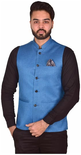 WEARZA Men Blue Solid Slim Fit Ethnic Jacket