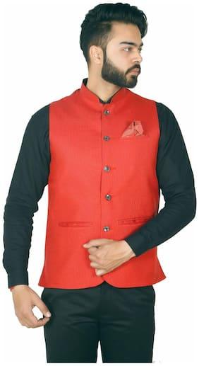WEARZA Men Red Solid Slim Fit Ethnic Jacket