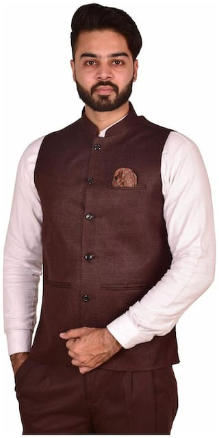 Wearza Men's Cofee Woven Cotton Blend Sleevless Rounded Bottom Nehru and Modi Jacket Ethnic Style For Party Wear, Sizes S-XXXL