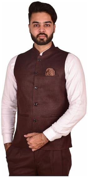 WEARZA Men Brown Solid Slim Fit Ethnic Jacket