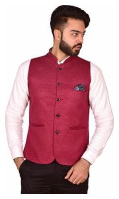 Wearza Men's Cherry Woven Cotton Blend Sleevless Rounded Bottom Nehru and Modi Jacket Ethnic Style For Party Wear, Sizes S-XXXL