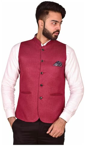 WEARZA Men Red Solid Slim Fit Ethnic Jacket