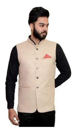Wearza Men's Cream Woven Cotton Blend Sleevless Rounded Bottom Nehru and Modi Jacket Ethnic Style For Party Wear, Sizes S-XXXL