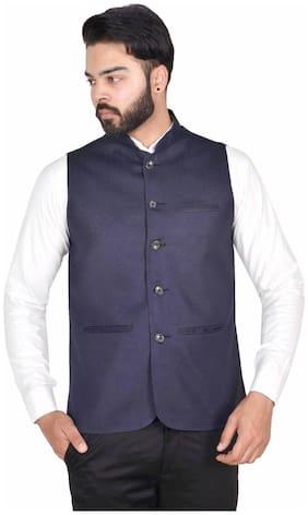 WEARZA Men Blue Solid Slim Fit Ethnic Jacket