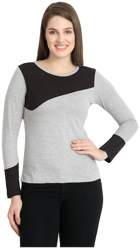 WEFT Casual Round Neck Full Sleeve Solid Cotton Grey/Black Top