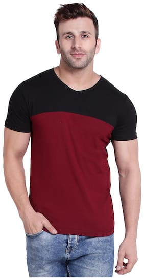 WEFT Men Multi Regular fit Cotton V neck T-Shirt - Pack Of 1